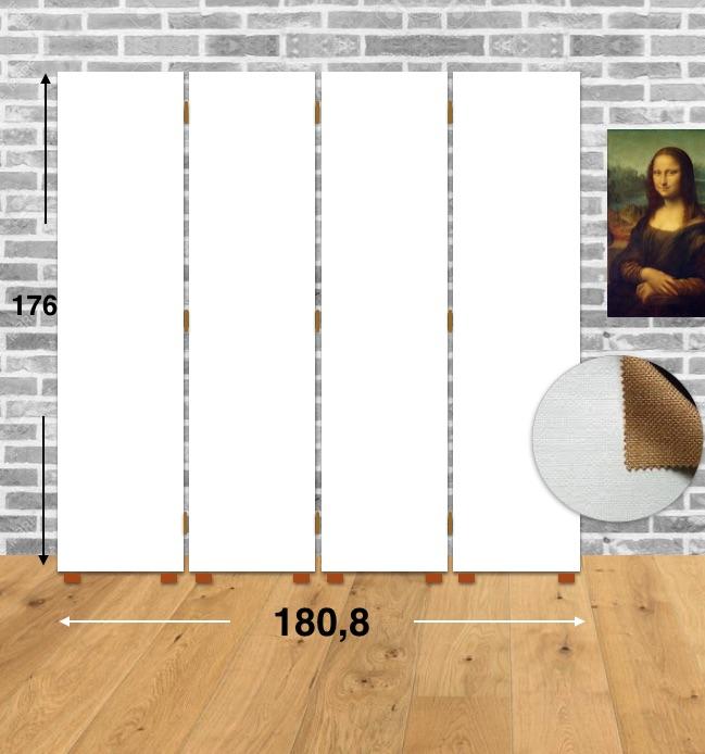 Separé da Dipingere Misure- 180,8X176X3,1 | 4 ante | Puro Cotone | Spalmatura universale |